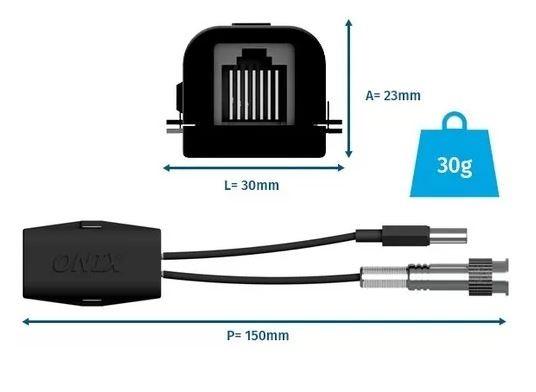 Balun Conversor vídeo e alimentação p/ Câmera Titan entrada RJ45 saída BNC+ P4
