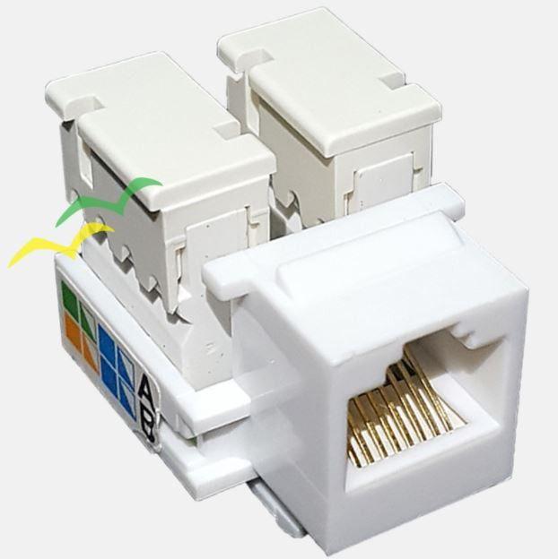40 Pçs de Conector Fêmea Keystone RJ45 Cat5e Branco - Pier