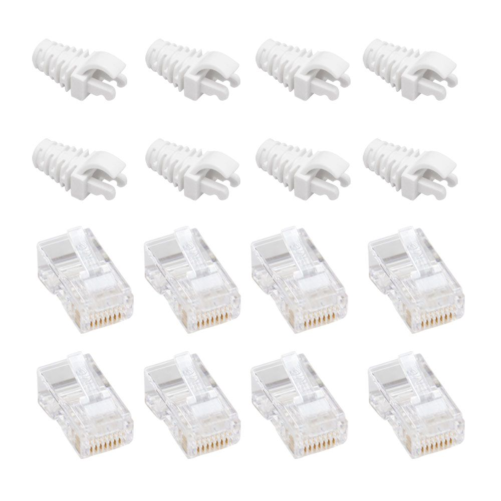 "50 Capas protetoras ""Snap in"" branca + 50 Conectores RJ45 Cat5e PMC."