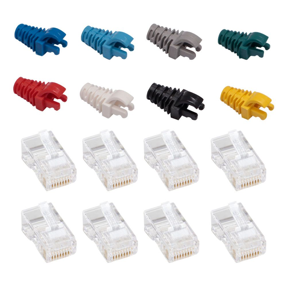 """50 Capas protetoras """"Snap in"""" colorida + 50 Conectores RJ45 Cat5e PMC."""
