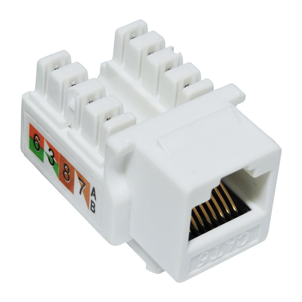 50 Pç Conector Fêmea Rj45 Keystone Cat6 Pier Branco Tomada 8 Vias