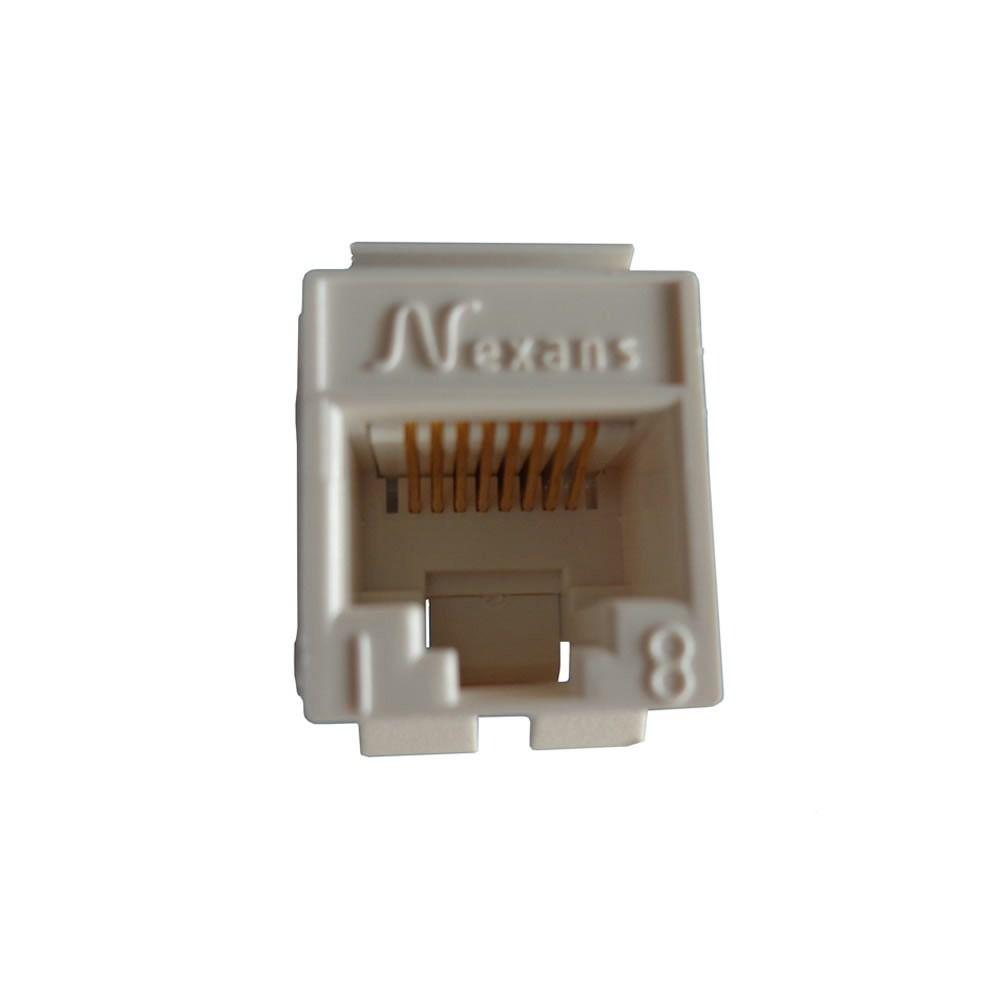 50 Pçs de Conector Fêmea Keystone RJ45 Cat5e Branco - Nexans