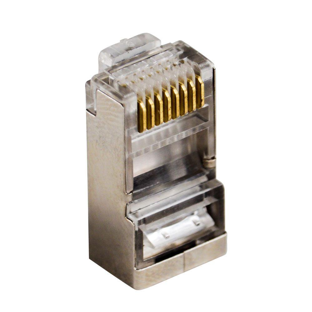 50 Pçs de Conector Macho Plug RJ45 Cat5e Blindado - Pier