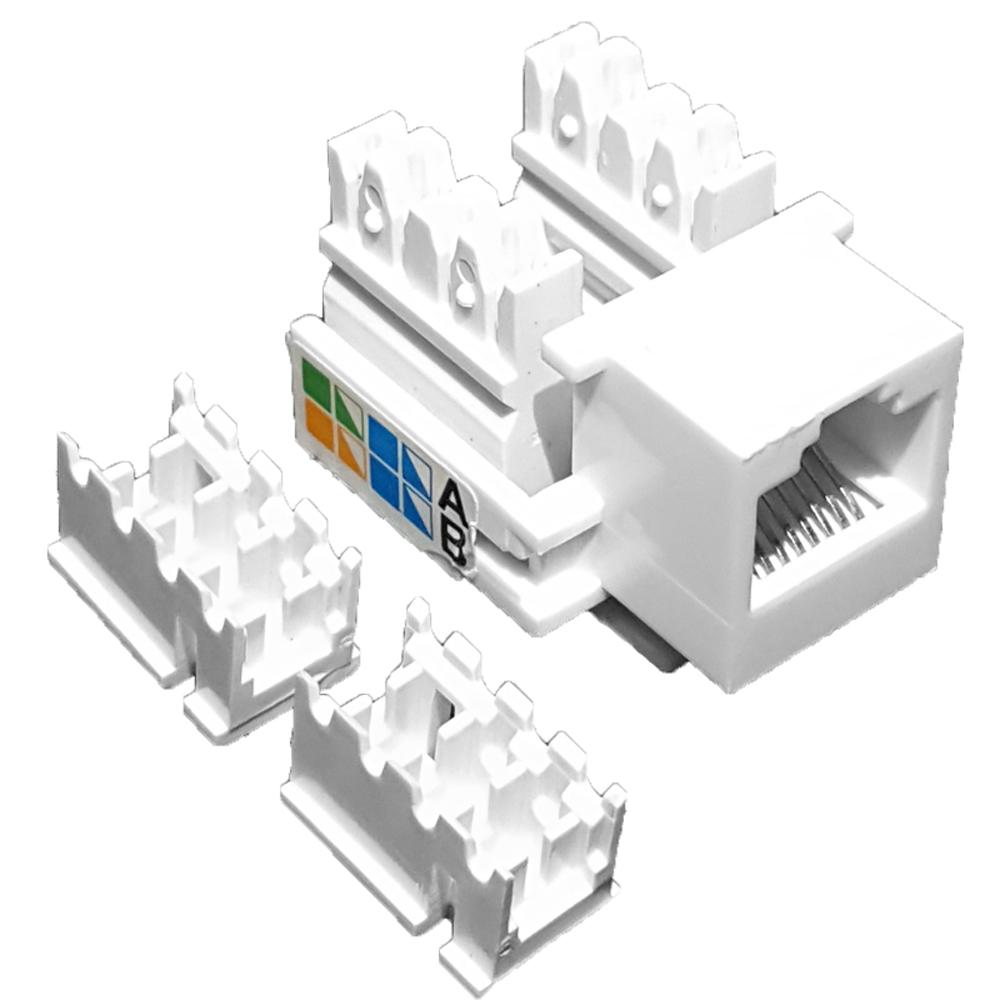 50 Unidades de Conector Fêmea Keystone RJ45 Cat5e Branco - Pier