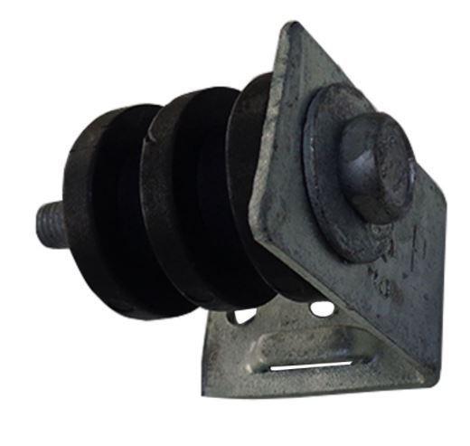 50 Unidades de Suporte DMP Completo c/ Roldana de PVC Preta 2 canais e Parafuso
