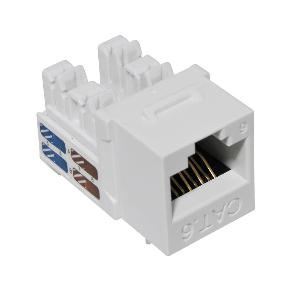 5 Unidades de CONECTOR FÊMEA SOHO PLUS CAT.6 T568A/B – BRANCO – ROHS
