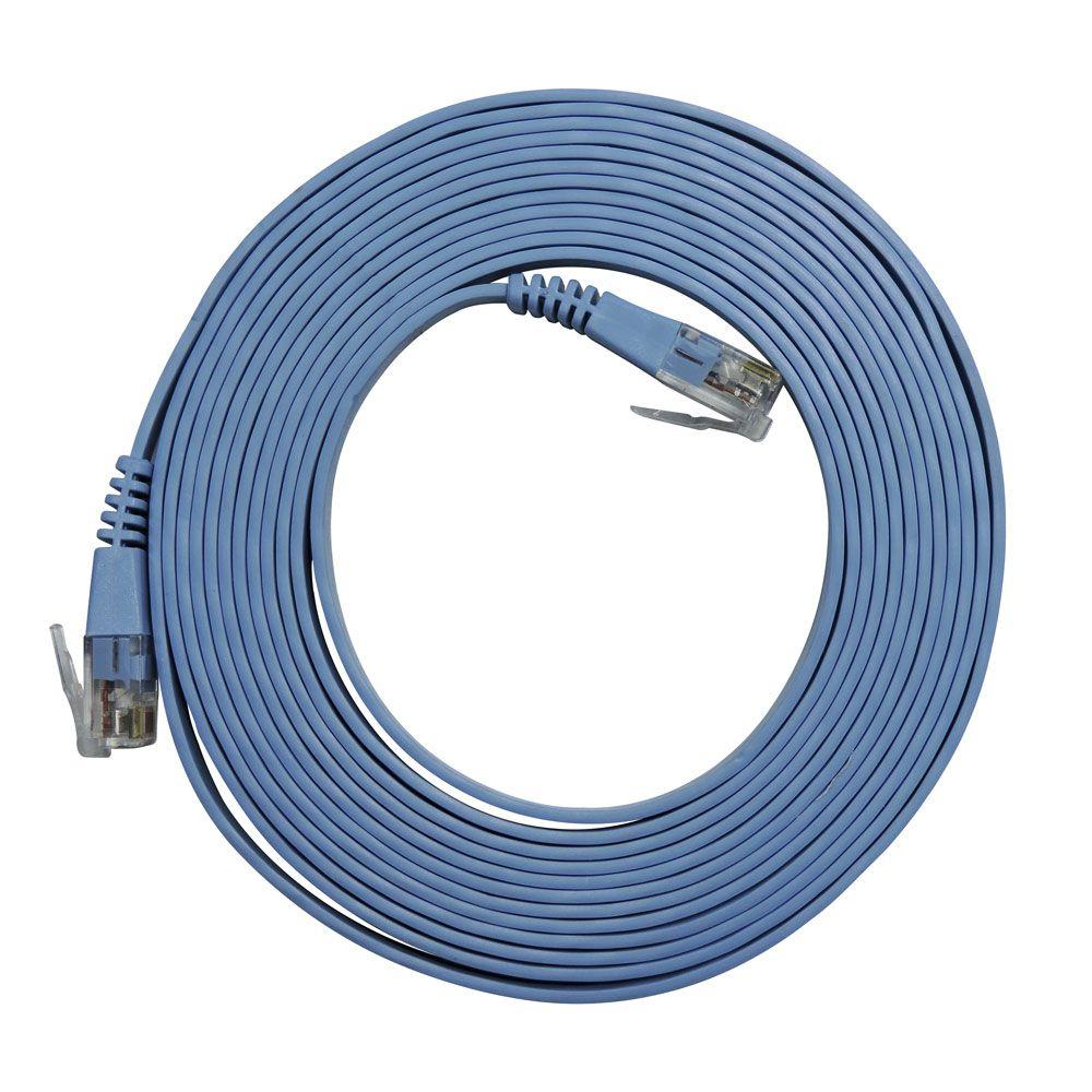 5 Unidades de Patch Cord Flat Cable RJ45 Gigabit Cat6 3m Azul