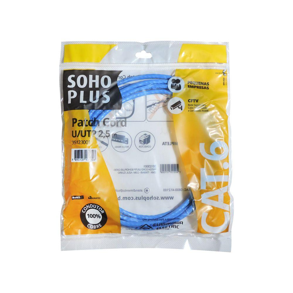 5 Unidades de Patch Cord Lan Cat6 2,5m Furukawa Soho plus azul