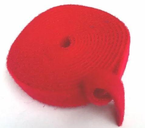 Abraçadeira Gancho e Laço Fita Dupla Face 3 Metros x 20 mm Vermelho