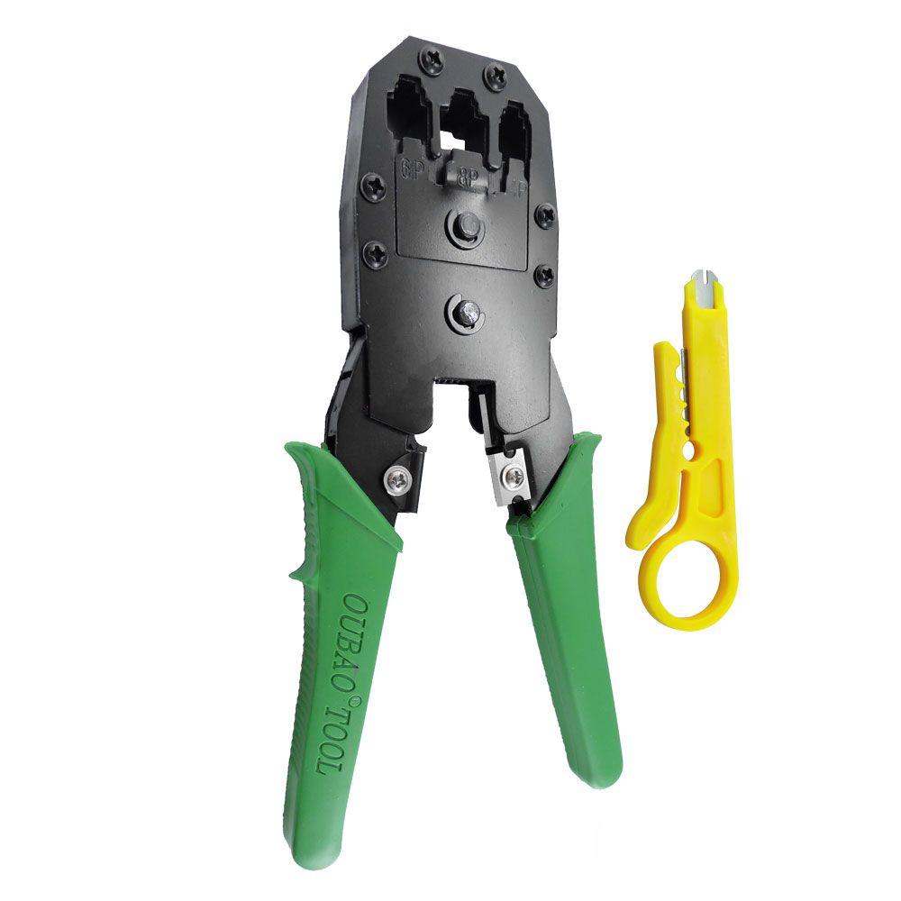 Alicate de Crimpar Rj45 Rj12 e Rj11 verde + Desencapador De Fio e chave keystone