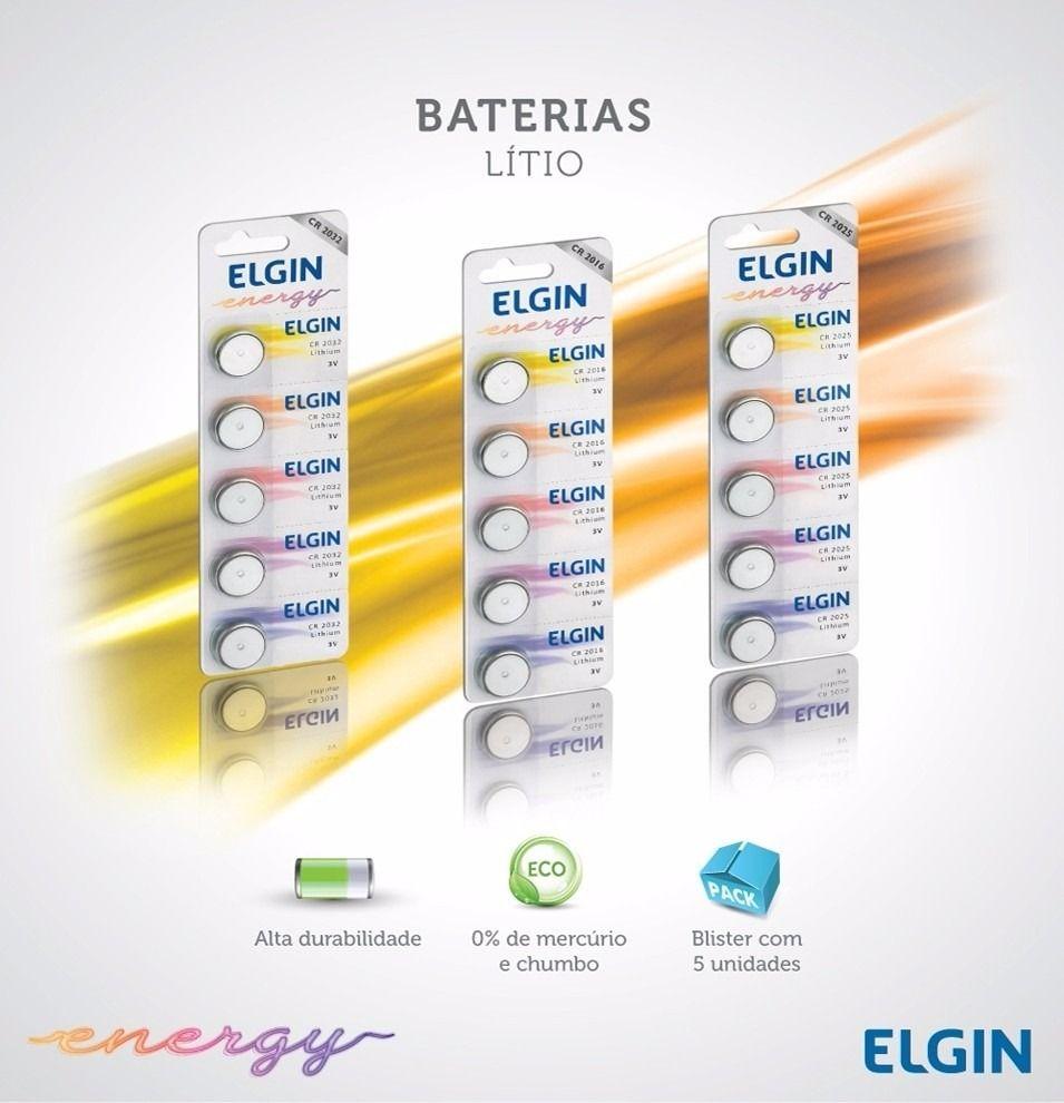 Bateria Botão de Litio CR2032 (Cartela C/5)  Elgin