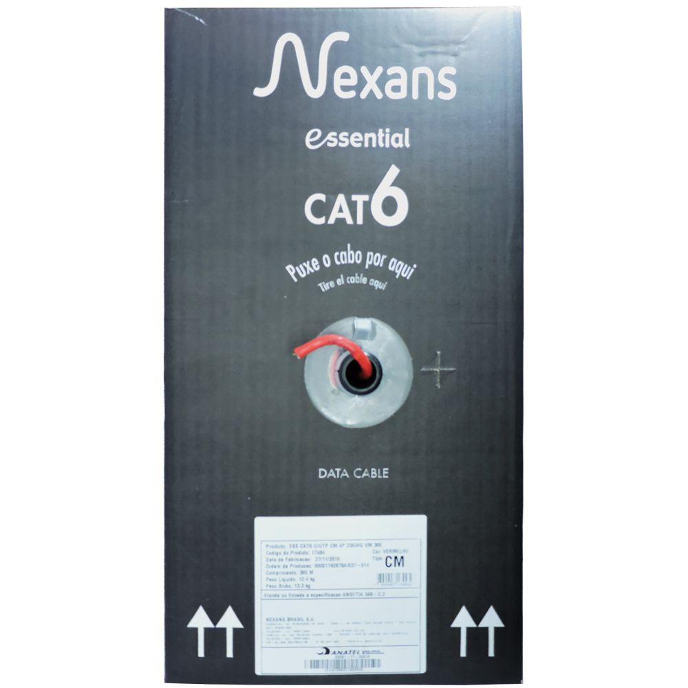 Cabo de Rede UTP 4 Pares x 23 AWG Cat6 CM Azul - Nexans Caixa - 305 mt