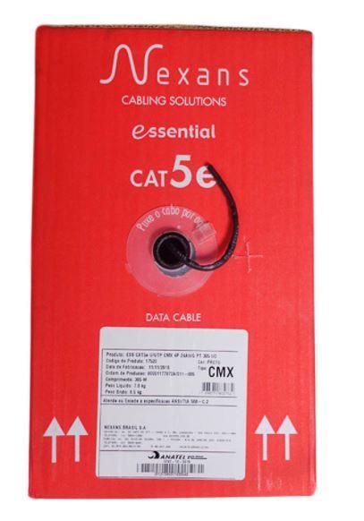 Cabo de Rede UTP 4P Indoor / Outdoor Cat5e CMX Preto - Nexans - Caixa 305 mt