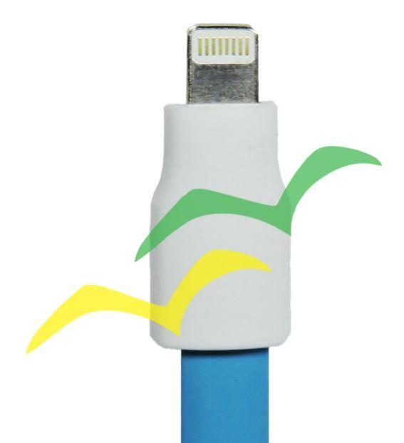 Cabo USB com imã para carregamento achatado 1,2M para LIGHTENING IPHONE - AZUL EXBOM