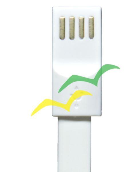Cabo USB com imã para carregamento achatado 1,2M para LIGHTENING IPHONE - BRANCO EXBOM