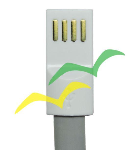 Cabo USB com imã para carregamento achatado 1,2M para LIGHTENING IPHONE - CINZA EXBOM