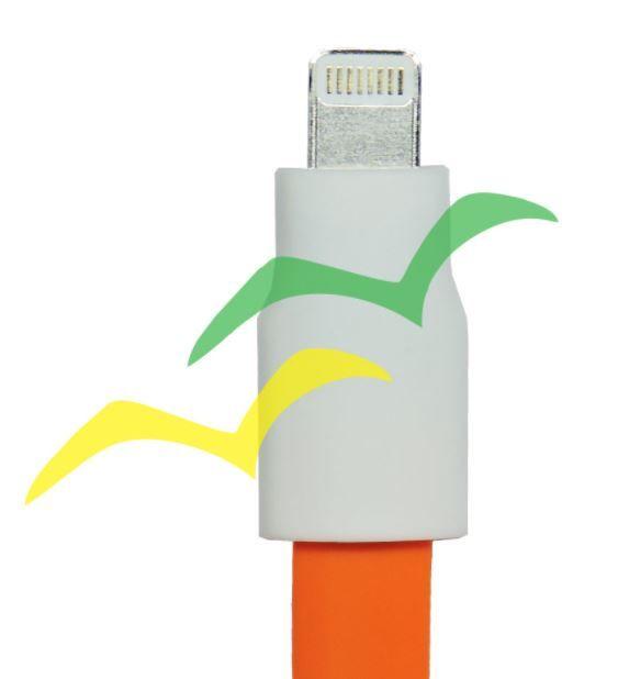 Cabo USB com imã para carregamento achatado 1,2M para LIGHTENING IPHONE - LARANJA EXBOM