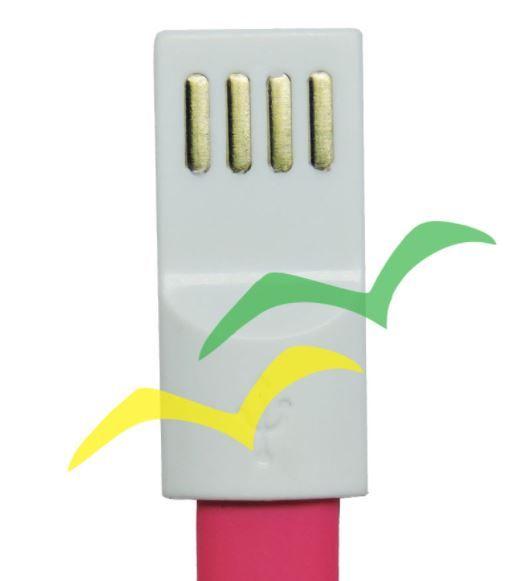 Cabo USB com imã para carregamento achatado 1,2M para LIGHTENING IPHONE - ROSA EXBOM
