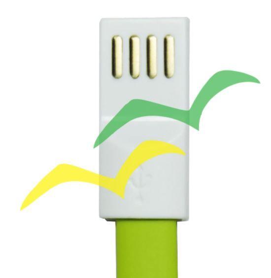 Cabo USB com imã para carregamento achatado 1,2M para LIGHTENING IPHONE - VERDE EXBOM