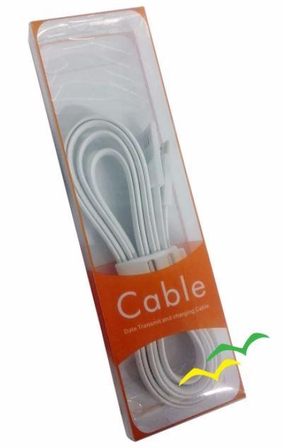 Cabo USB com imã para carregamento achatado 1,2M para Micro USB - BRANCO EXBOM