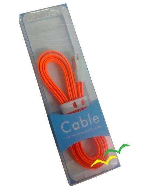Cabo USB com imã para carregamento achatado 1,2M para Micro USB - LARANJA EXBOM
