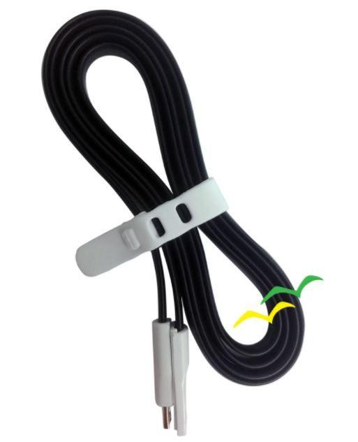 Cabo USB com imã para carregamento achatado 1,2M para Micro USB - PRETO EXBOM