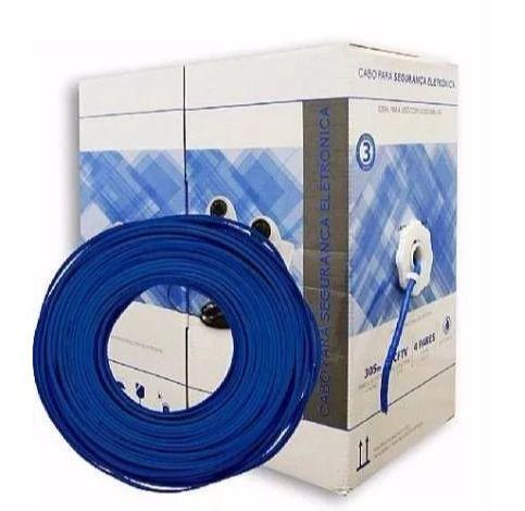 Cabo UTP para CFTV Bitola 0,45mm azul caixa com 305m - MULTILASER