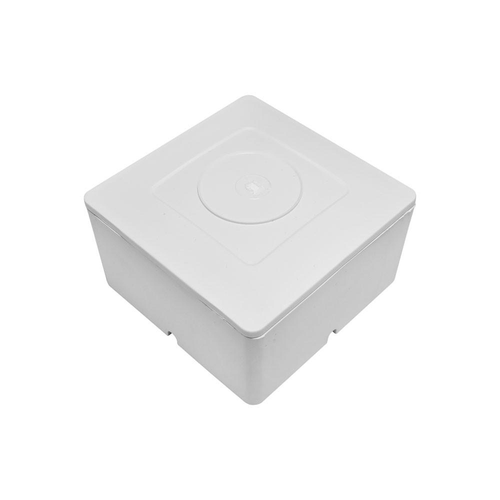 Caixa de sobrepor para balun de CFTV quadrada Branca com tampa cega