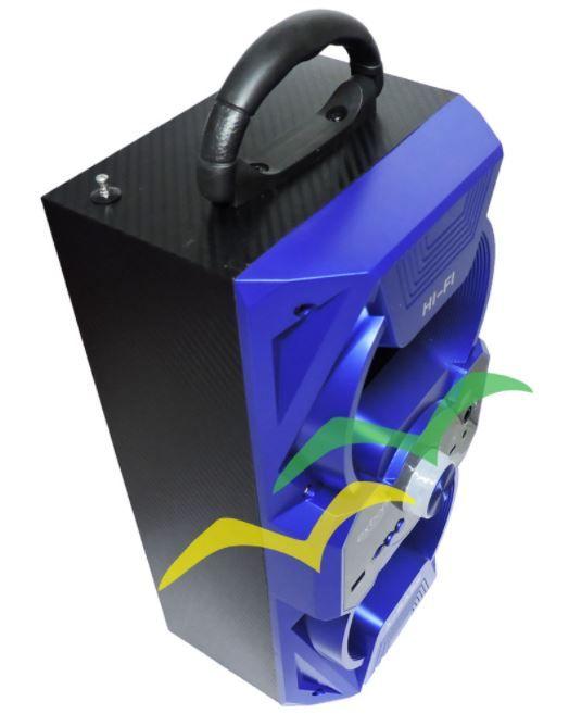Caixa de Som Bluetooth 12Watts Torre Super Bass com visor SD/USB/FM e dois plugs para Microfones M267BT - AZUL- EXBOM