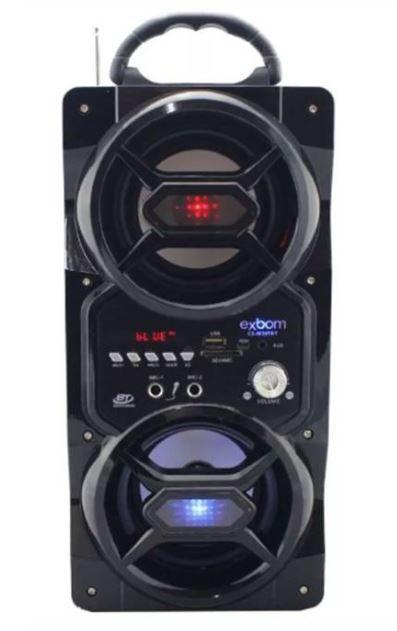 Caixa de Som Bluetooth 12Watts Torre Super Bass com visor SD/USB/FM e duas entradas p/ Microfone M269BT -PRETO - EXBOM