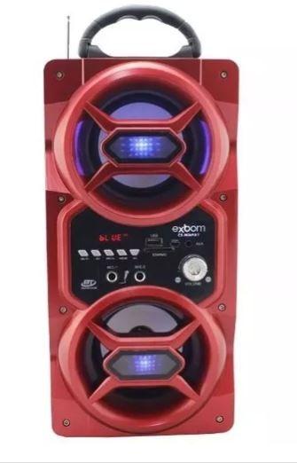 Caixa de Som Bluetooth 12Watts Torre Super Bass com visor SD/USB/FM e duas entradas p/ Microfone M269BT -VERMELHO -EXBOM
