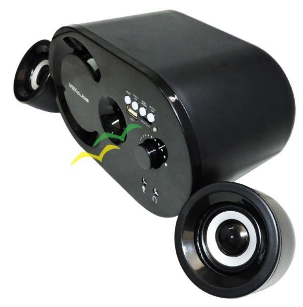 Caixa de Som Bluetooth 16W com Subwoofer Wireless 2.1 Canais com FM e Multimidia VC-G300BT - REDONDA