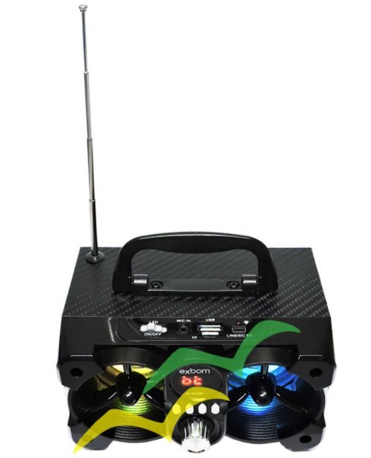 Caixa de som Bluetooth com iluminação Led 6W CS-M223BT - PRETO - EXBOM