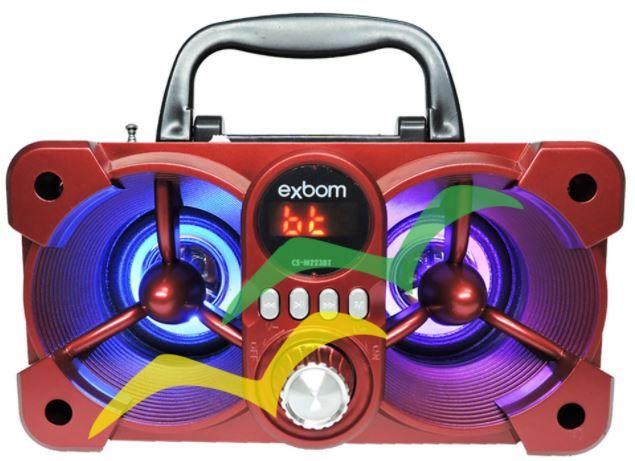 Caixa de som Bluetooth com iluminação Led 6W CS-M223BT - VERMELHA - EXBOM