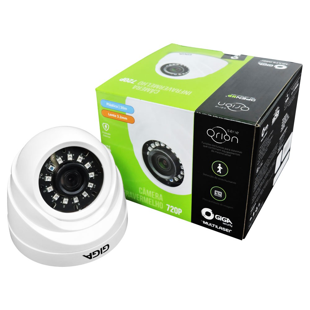 Câmera Dome Plast Orion 720p IR 20m 1/4 3.2mm - Giga Security  - GS0017