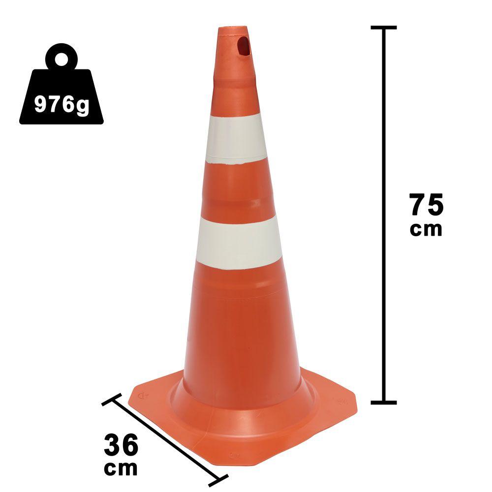 Cone Tubo Cônico Para Sinalização Laranja e branco - 75CM