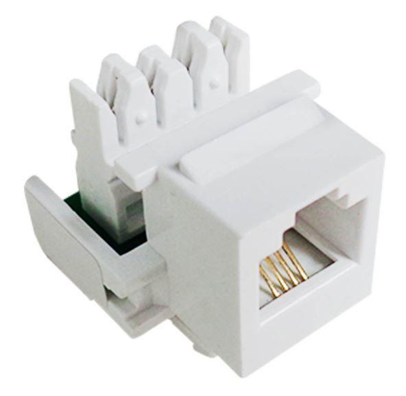 "Conector Keystone RJ11 Cat3 Branco ""Fêmea""."