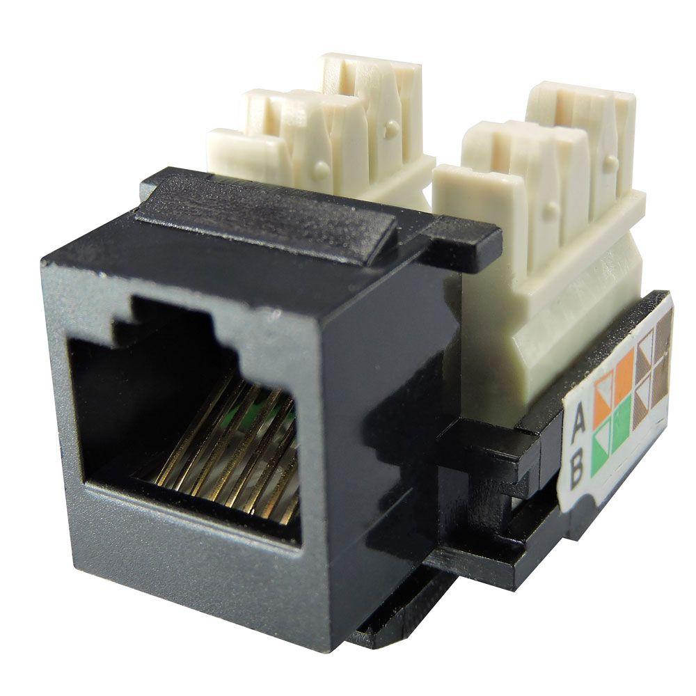 "Conector Keystone RJ45 Cat5e ""Preto"" - LINK+"