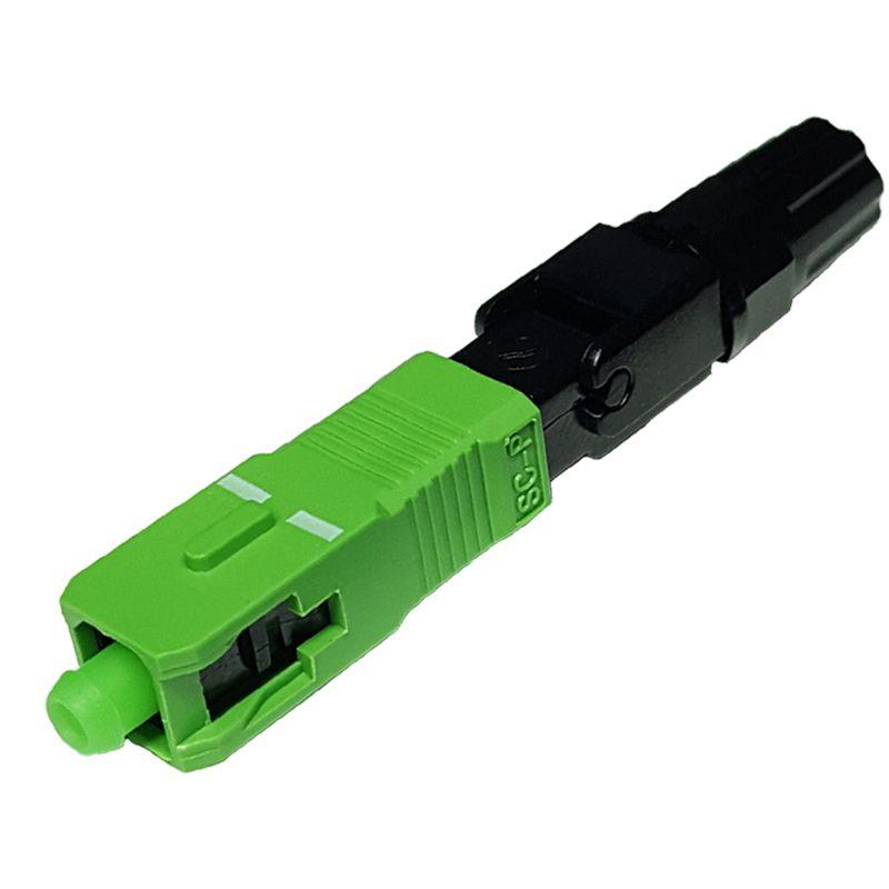 Conector Óptico SC APC SM Fast Connector Rosca Preta Pré Polido Verde
