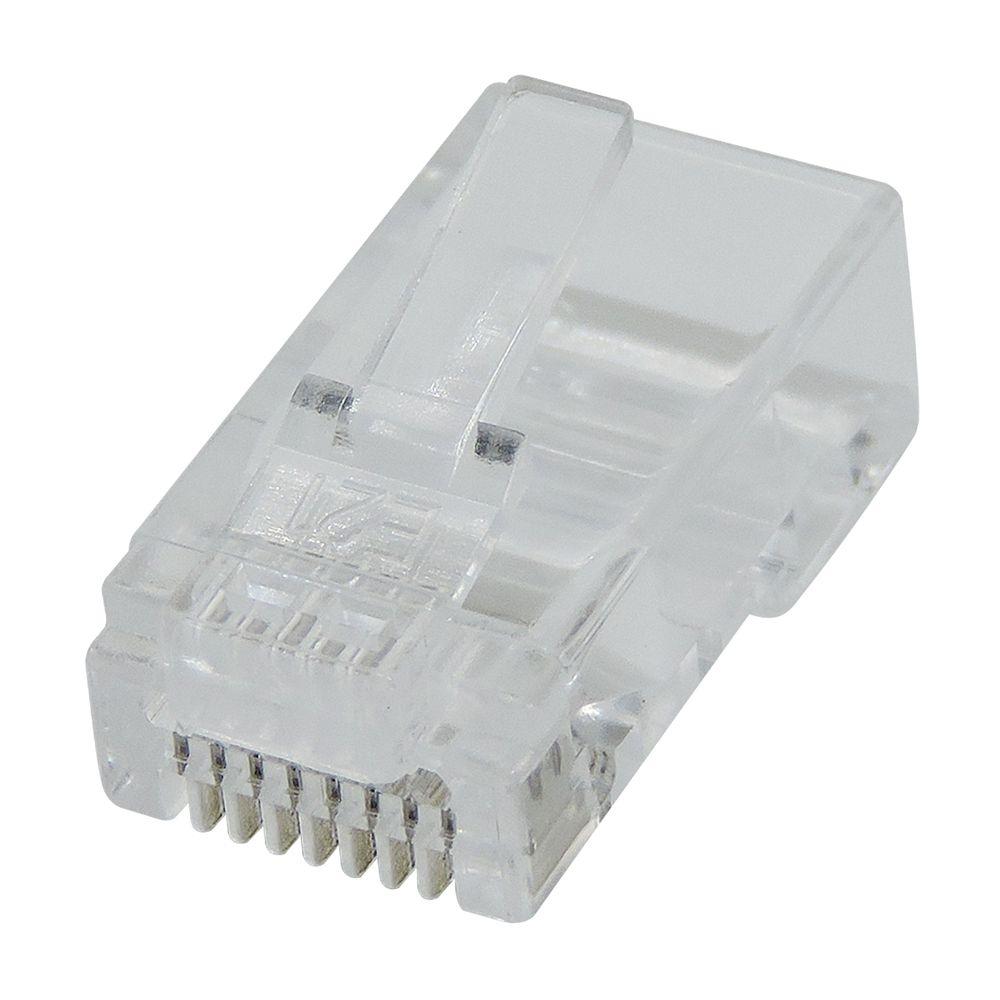 Conector plug RJ45 Macho Cat5e crimpa fácil EZ Crimp modelo de passagem para cabo de rede - Pote com 100 unidades