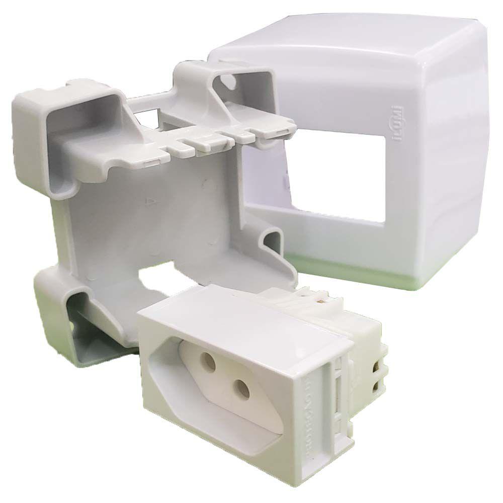 Conjunto 1 Tomada 10A 250V Sobrepor Box Slim Ilumi - 84140