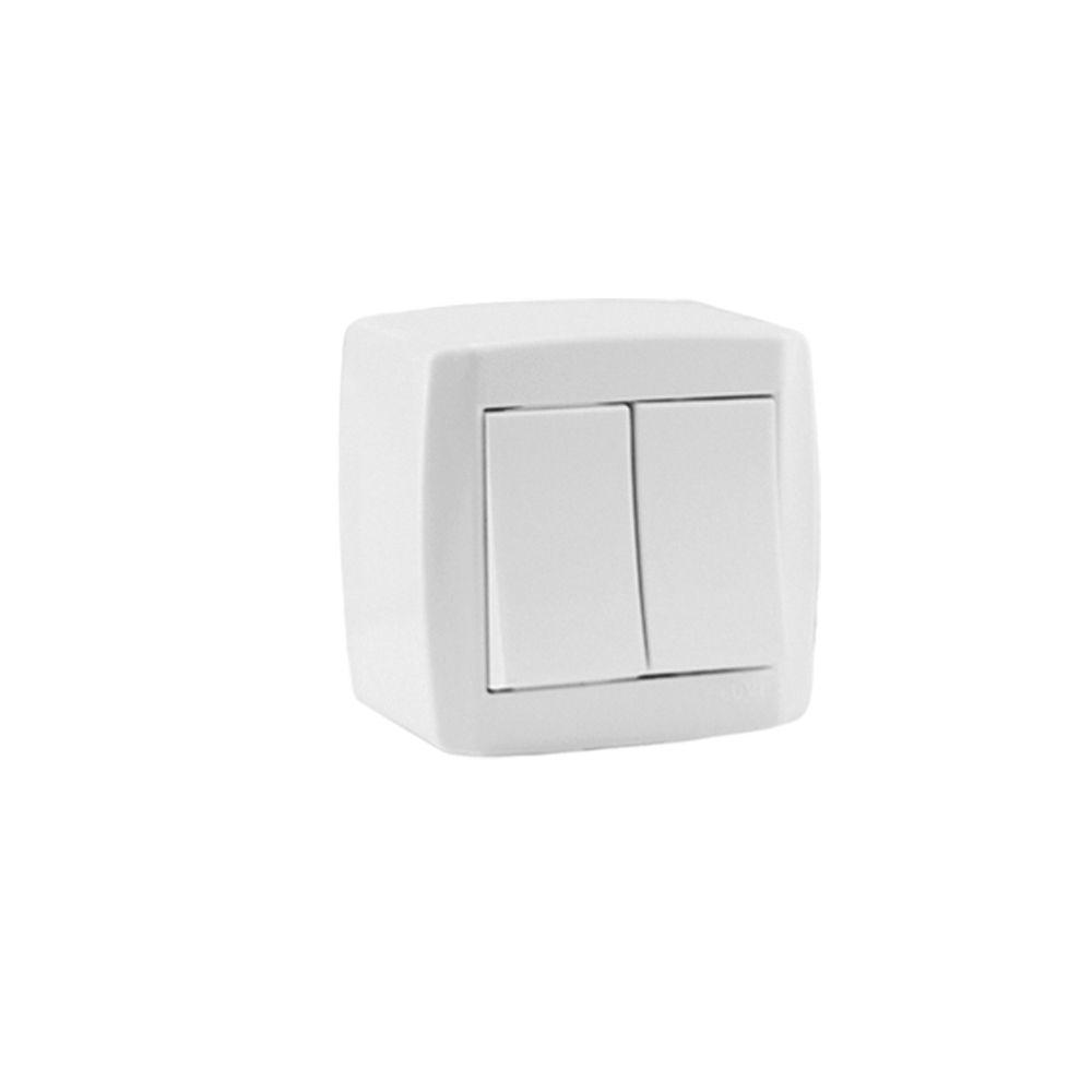 CONJUNTO 2 INTERRUPTORES SIMPLES SOBREPOR 10A 250V~ - BOX SLIM - ILUMI
