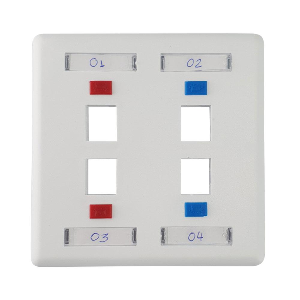 Espelho 4x4 4 saídas branco fixo