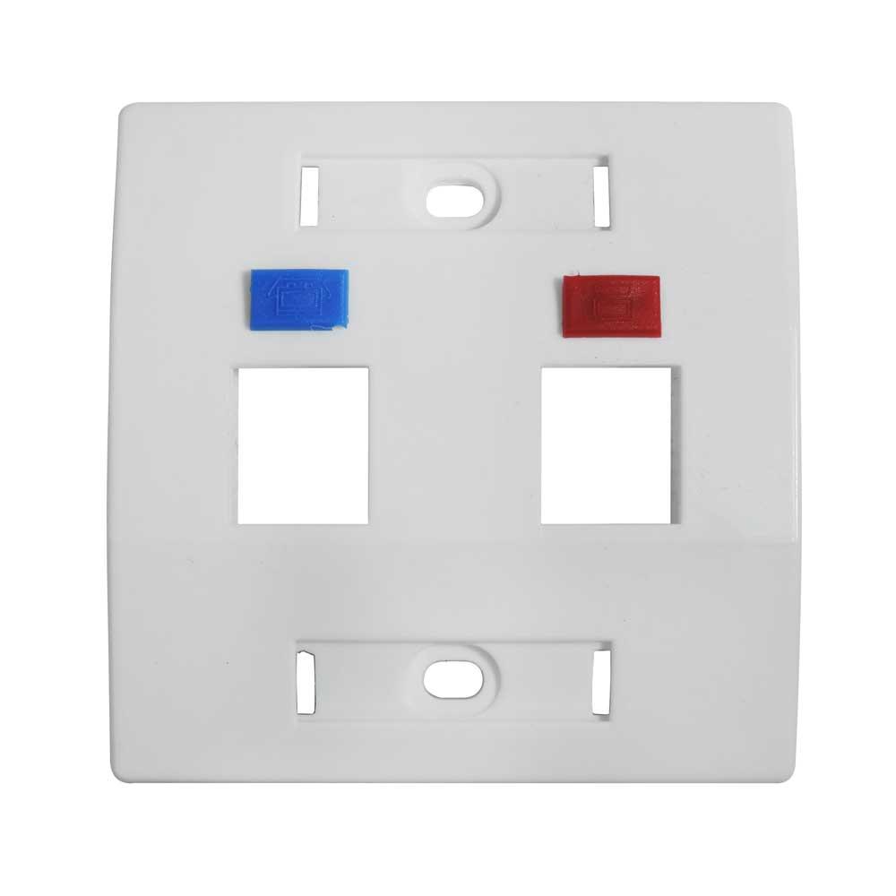 Espelho para Caixa de Sobrepor 3x3 fixo c/ 2 saídas branco - S