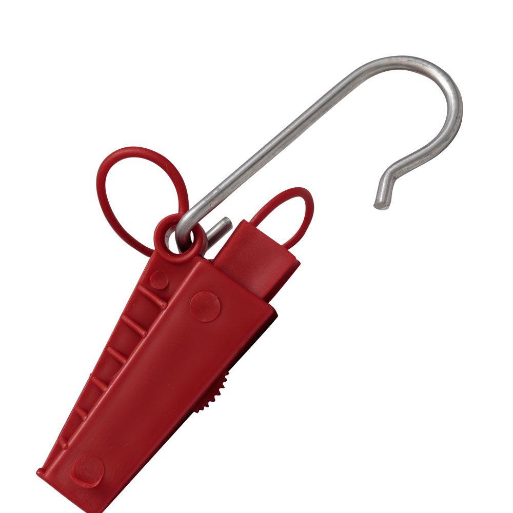 Esticador Plástico com Abertura Lateral para cabo mini Drop Óptico FTTH Pier Telecom -  Vermelho