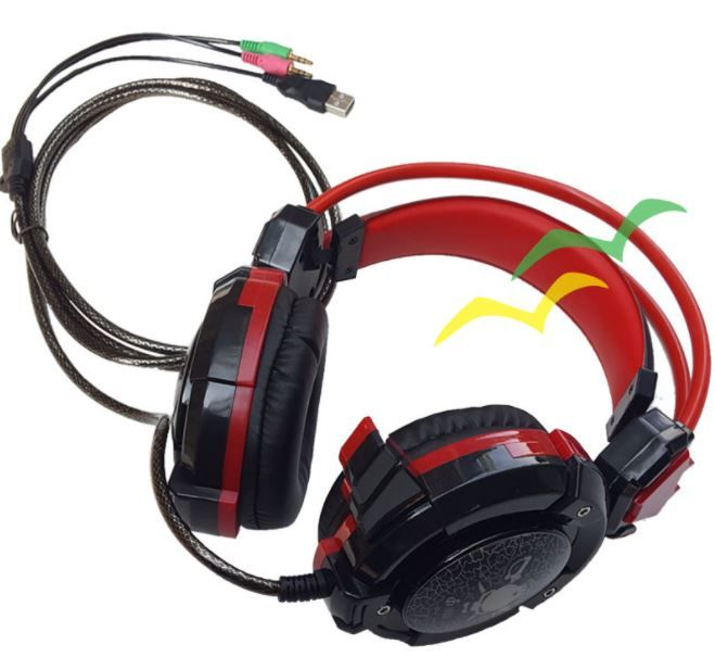 Fone GH-X30 Headfone Game com Microfone Luz Led Colorido Cabo Reforçado Revestido Silicone - Vermelho