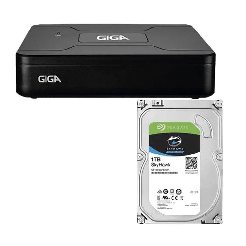 Q04 HVR OPEN HD 1080N 8 CANAIS SAIDA BNC HDD SEAGATE SKYHAWK 1TB - GS08OPENHDI21TB
