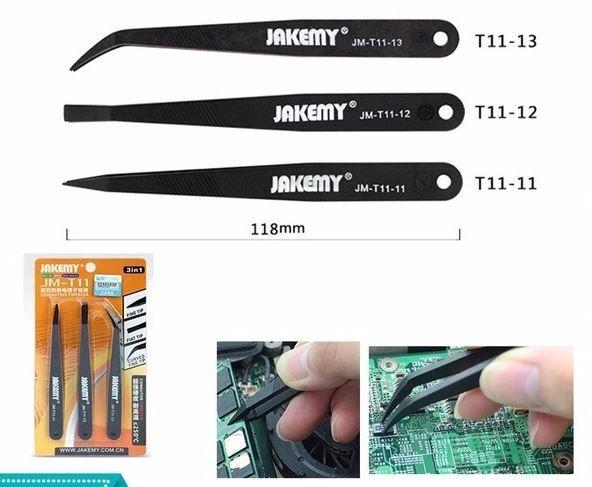 Kit c/ 3 Pinças Anti Estática Ferramenta Celular Eletrônica Nylon