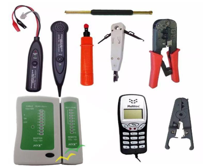 Kit com 8 Ferramentas para Rede e Telefonia