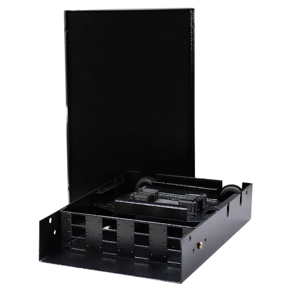 Mini DIO em Aço 12FO para fusão de fibra óptica com painel para adaptadores SC - Preto